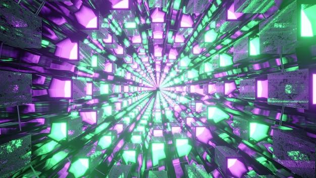 Surreal corridor with vivid lamps 4k uhd 3d illustration
