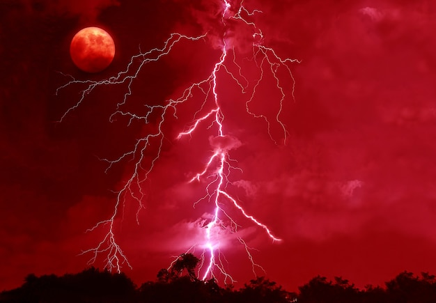 Surreal pop art style powerful lightning strikes in the bloody red night sky with a spooky full moon