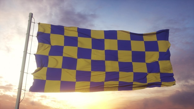 Surrey flag, england, waving in the wind, sky and sun background. 3d rendering