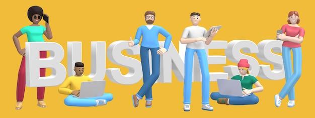 Группа в составе молодые многонациональные успешные люди с словом дела компьтер-книжки, таблетки, телефона и surround на желтой стене. мультипликационный персонаж и слоган сайта. 3d-рендеринг.