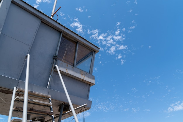 Surveillance station lifeguard tower on a beach in blue sky in lacanau france