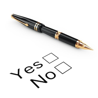 Survey concept. yes or no checklist with golden fountain writing pen on a white background. 3d rendering