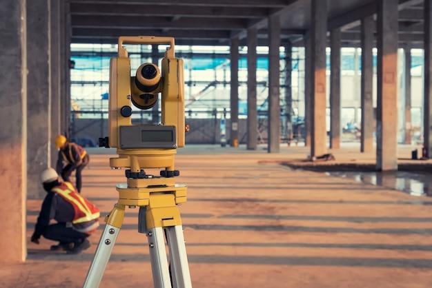 Survey equipment in construction site