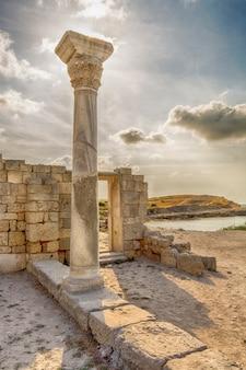 Surviving column of basilica in chersonesos in the crimea.