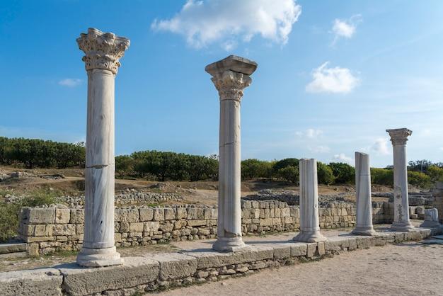 Surviving columns of basilica in chersonesos in the crimea.