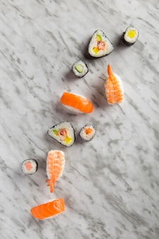 Sushi composition on marble