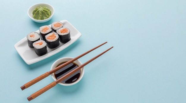 Sushi day concept with copy space