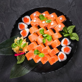Sushi dish at asian restaurant