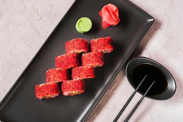 Sushi dish at asian restaurant