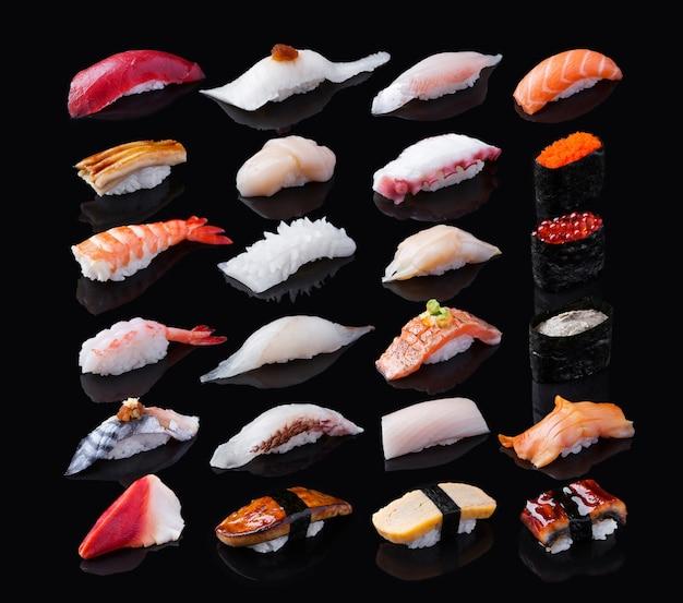 Sushi isolated on black