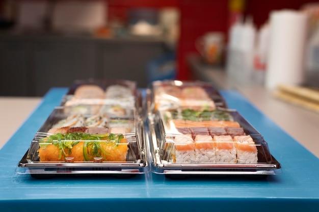 Sushi order arrangement in a restaurant kitchen