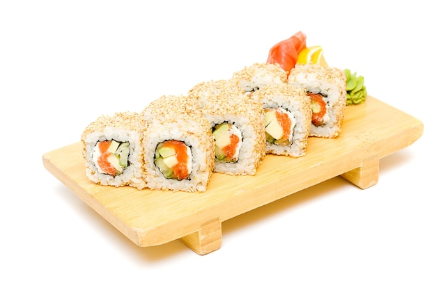 Sushi on a plate, traditional japanese food