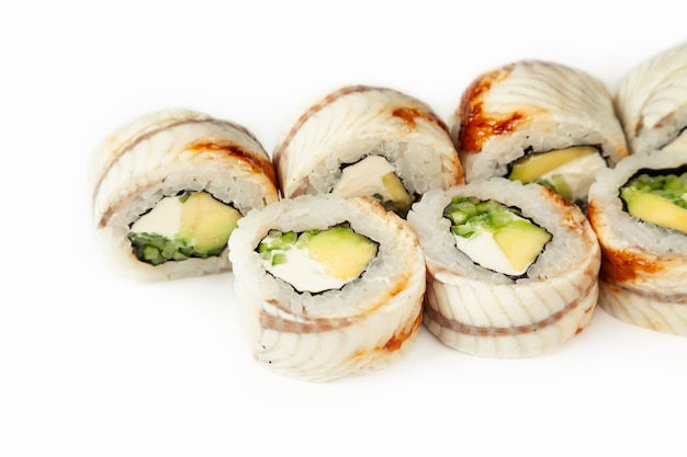 Sushi roll black dragon on a white background