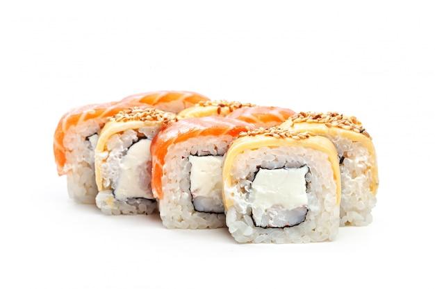 Sushi roll isolated on white background.