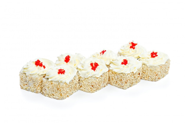 Sushi roll with fresh ingredients isolated