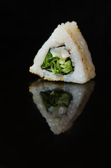 Sushi roll with seaweed