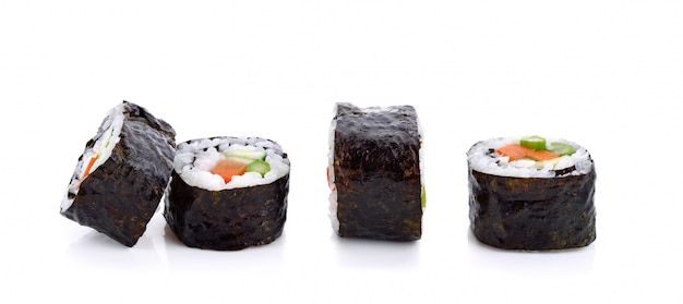 Sushi roll with vegetable isolated