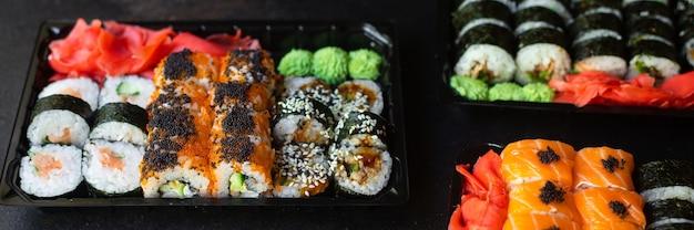 Суши роллы лосось рыба летучая рыба икра овощи