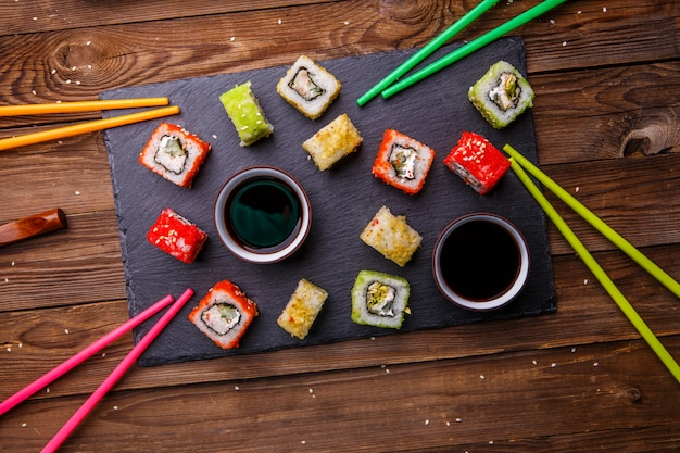 Sushi rolls set with soy sauce