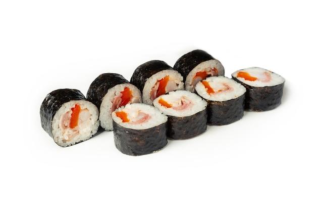 Суши-роллы с беконом и креветками
