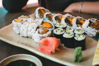 Sushi rolls with sweet potatoes