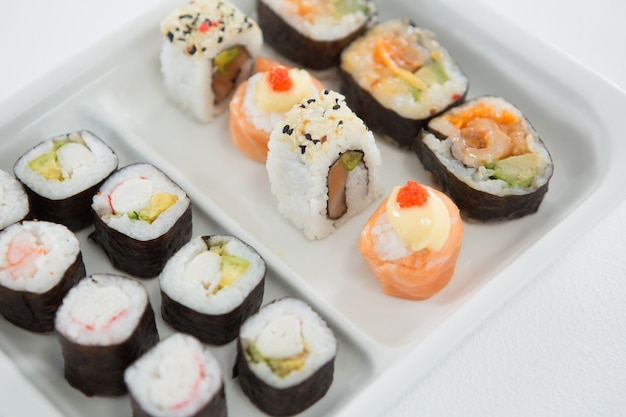 Sushi served on plate