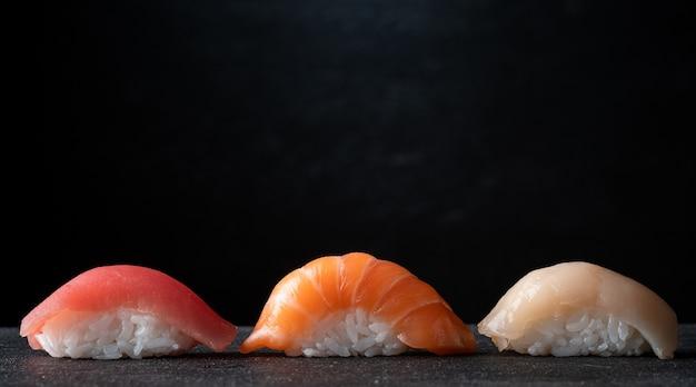 Sushi set on a black stone