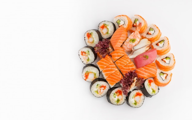 Sushi set of different rolls top view