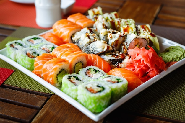 Sushi set of different types on a plate