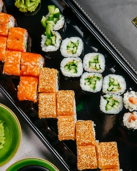 Sushi set kappa maki california philadelphia ebi maki top view