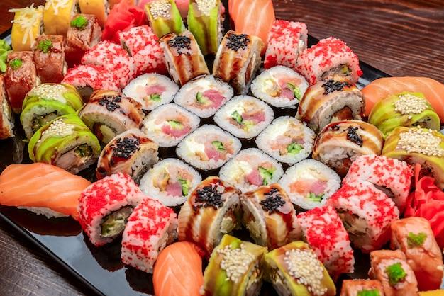 Sushi set - maki sushi alaskan roll, yin yang roll and nigiri sushi