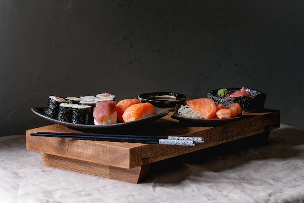 Sushi set nigiri and sushi rolls