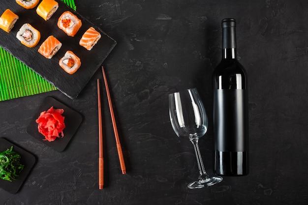Sushi set sashimi and sushi rolls