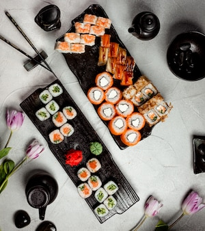Sushi set on the table top view