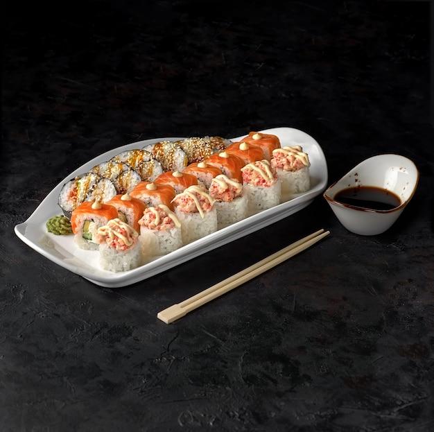 Sushi set tokyo. rolls yin yang, philadelphia and baked with salmon.