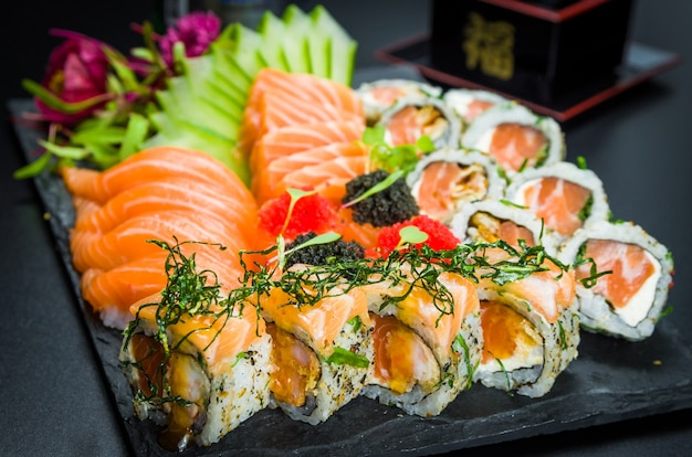 Sushi set. traditional japanese cuisine, premium sushi decorated in elegant surroundings.