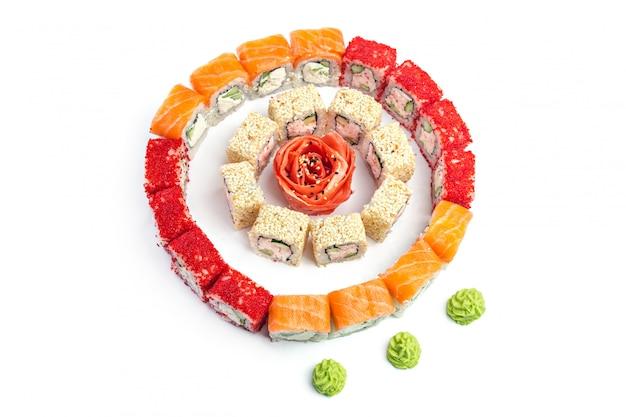 Sushi set on white