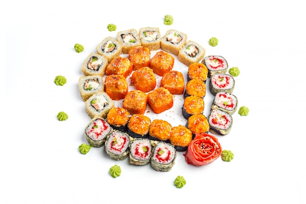 Sushi set on white