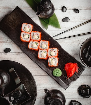 Sushi set with ginger and wasabi top view