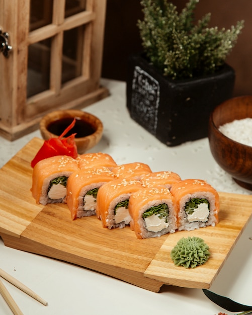 Sushi set with wasabi and ginger 4