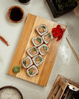Sushi set with wasabi and ginger 5