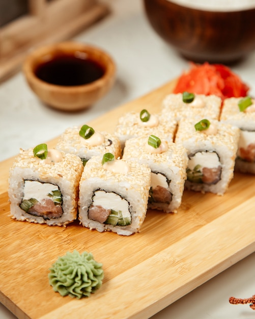 Sushi set with wasabi and ginger 7