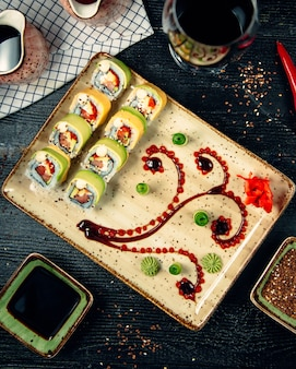 Sushi set with wasabi and ginger 8