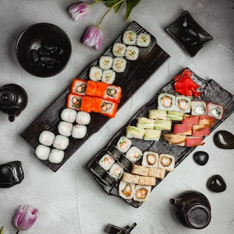 Sushi sets on table top view