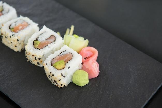 Sushi on stone tray