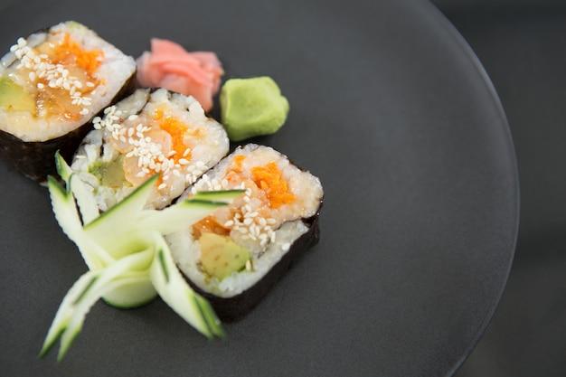 Sushi on tray
