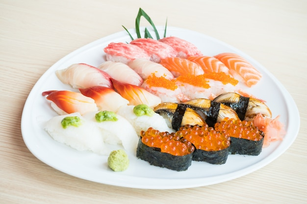 Sushi in white plate