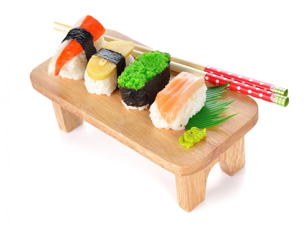 Sushi on a white