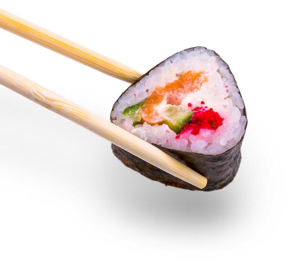 Sushi with caviar with chopsticks