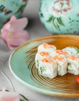Sushi with cucumber and mayonnaise